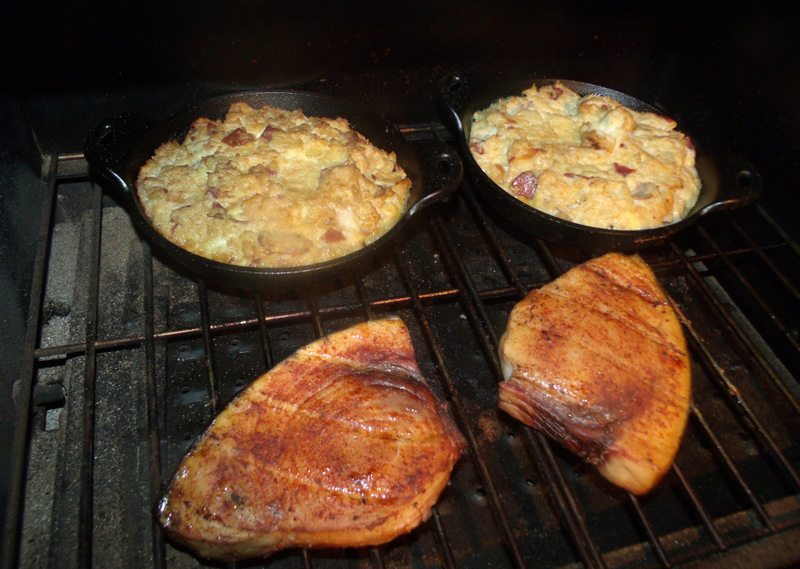Swordfish and Potatoes on the Green Mountain Davy Crockett Tailgater
