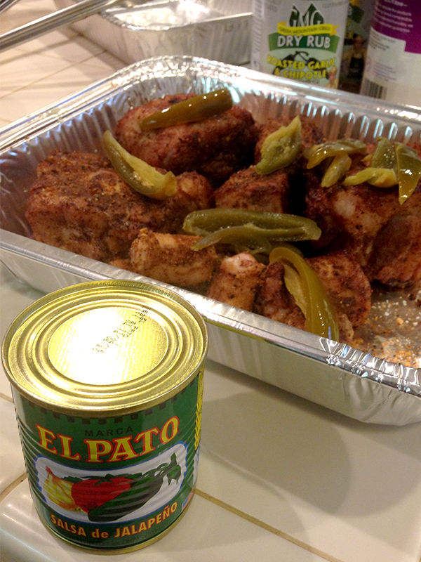 Add your El Pato sauce and Jalapeños