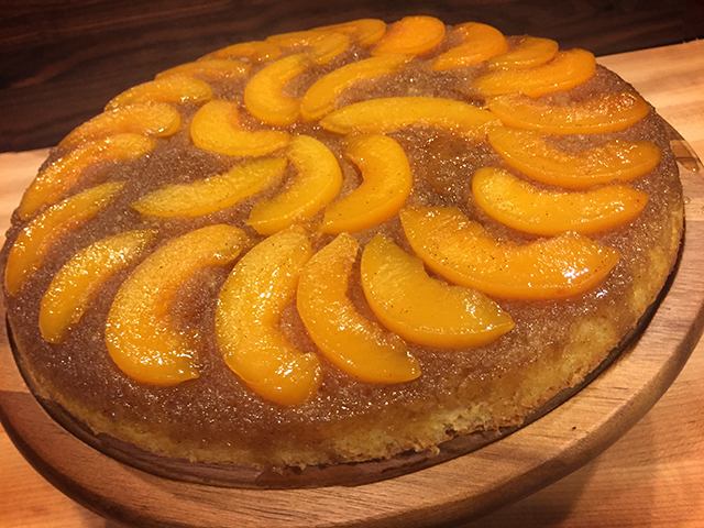 Bourbon Peach Upside-Down Cake - Green Mountain Grills Blog
